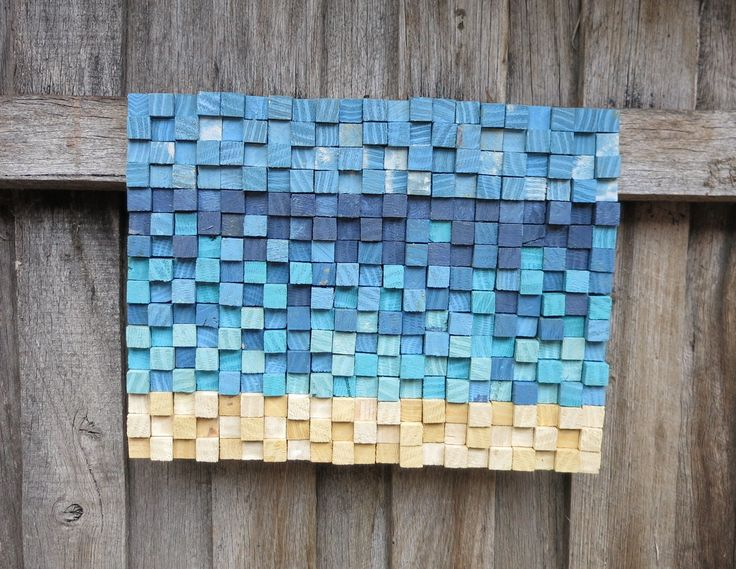400 handstained blocks of recycled timber into one beachy artwork! Loved this one :) #art #palletart #australianart