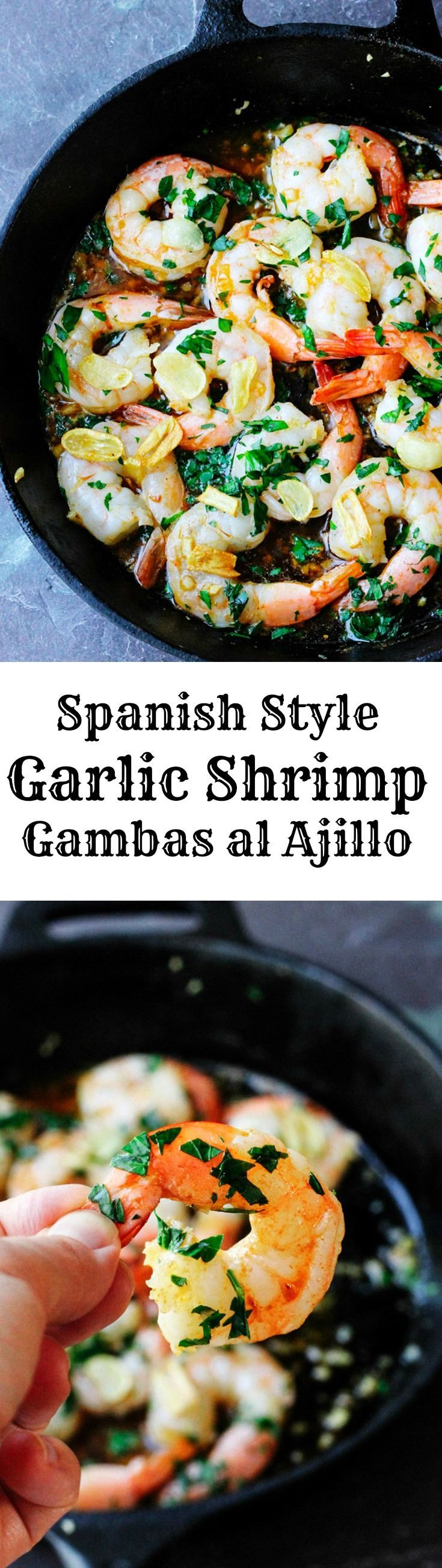 Spanish Style Garlic Shrimp is cooked in olive oil with tons of garlic ...