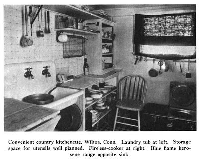 From The Efficient Kitchen by G.B. Child, 1914. This picture is really interesting because it shows a wire mesh dish rack (hanging on the wall). I'd been wondering what they used as dish racks and this photograph provided at least one option. I think that mop-looking thing above the sink might be a dish scrubber.