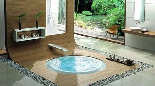 bathroom design with small pond