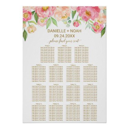 Peach and Pink Peony Flowers Wedding Seating Chart - spring wedding diy marriage customize personalize couple idea individuel