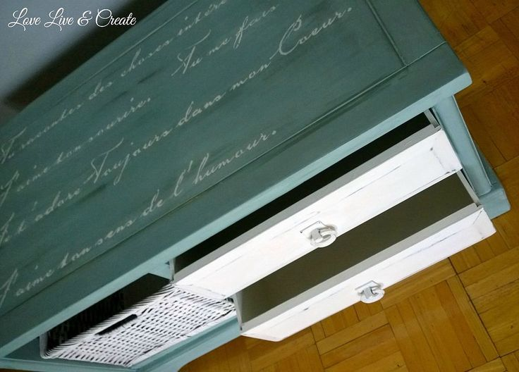 Blue-White Coffee Table with Romantic French Script Stencil