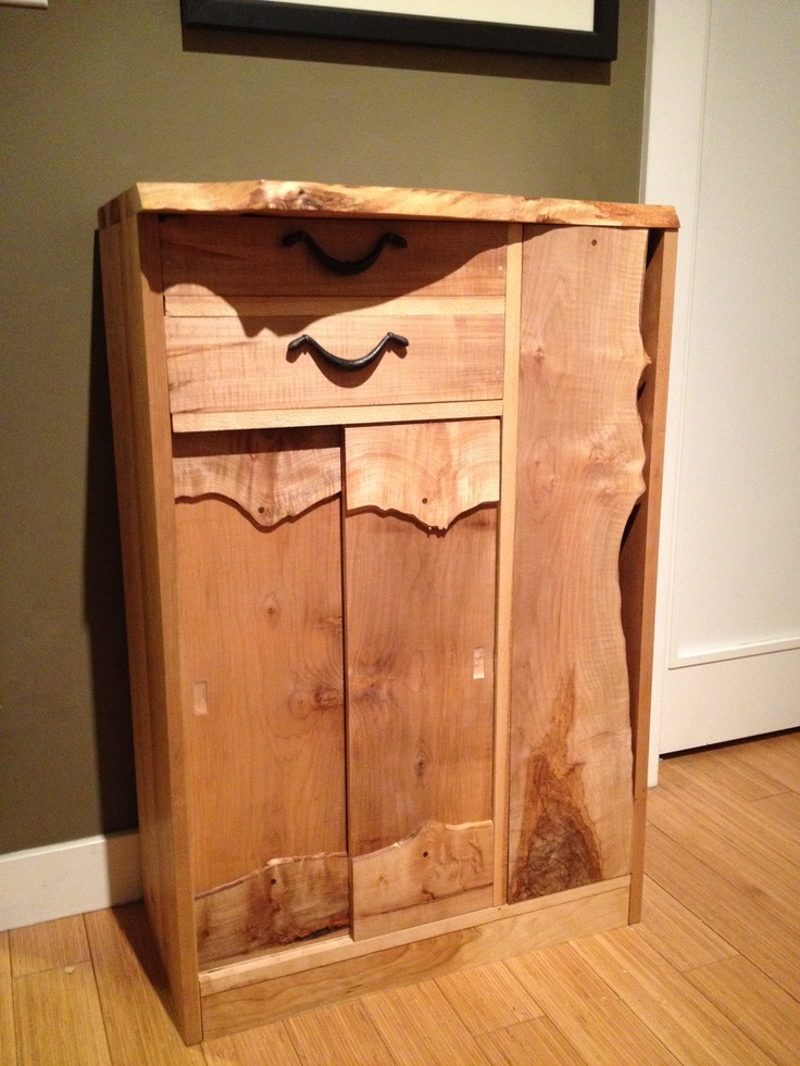 Foyer Cabinet With Doors : Entryway cabinet made with solid wood including live edge