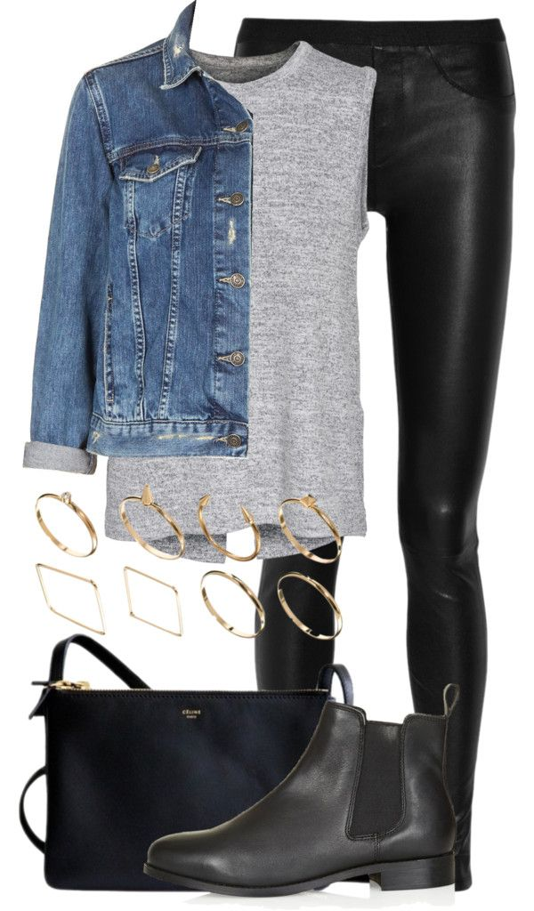 denim jacket / leather legging