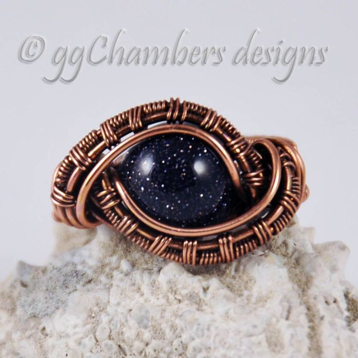 Antiqued Copper and Blue Goldstone Woven Wire Ring