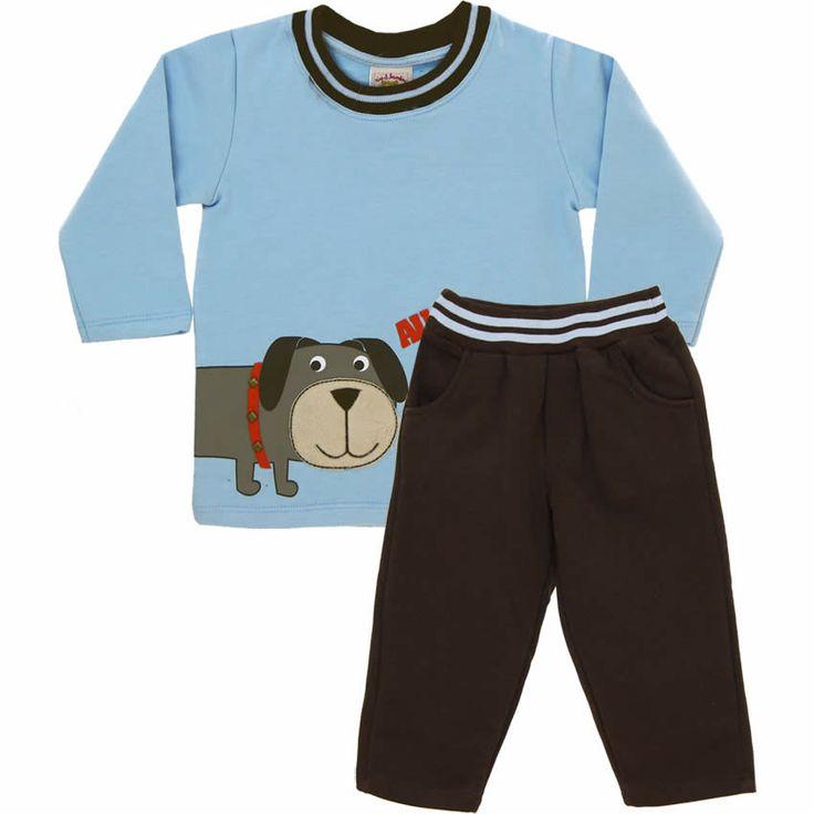 Conjunto de Moleton Infantil Menino Au Au Azul - Nini & Bambini :: 764 Kids | Roupa bebê e infantil