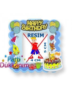Happy Birthday Fotoğraf Çerçevesi Magnetli (7,5x8,5cm) Mavi