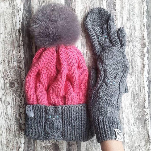 WEBSTA @ labrezzastudioknitting - Комплект из шерсти мериноса, кашемира и шелка, помпон съемный, есть розовый и др. Цветов по желанию) шапочка 2900, варежки 1400