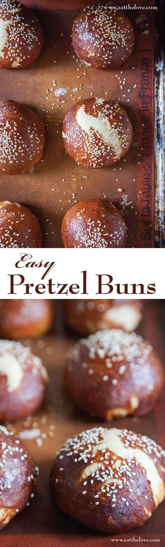"These easy-to-make pretzel buns use baking soda to ""pretzel-fy"" the dough. They're my favorite burger buns!"