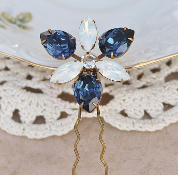Horquilla de pelo cristal magnífico ópalo azul y blanco zafiro