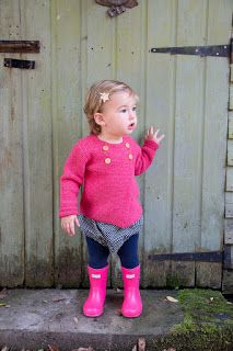 Hester's little sister... Charlotte cardigan, Hunter wellies and spot cord bloomers