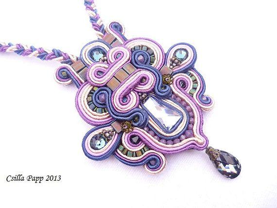 Soutache necklace pendant in purple blue coffe with by CsillaPapp