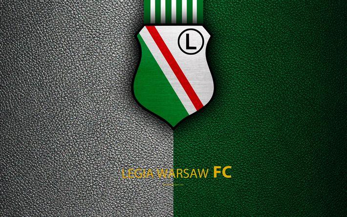 Download wallpapers Legia Warsaw FC, 4k, football, emblem, logo, Polish football club, leather texture, Ekstraklasa, Warsaw, Poland, Polish Football Championships
