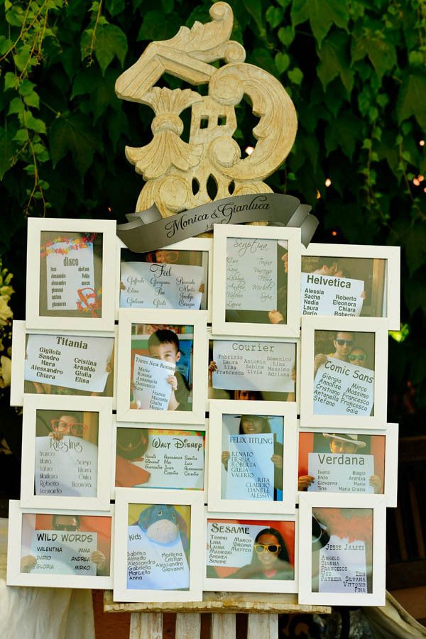 font wedding seating chart - Each frame has a photo taken of the list of names for that table.  Clever