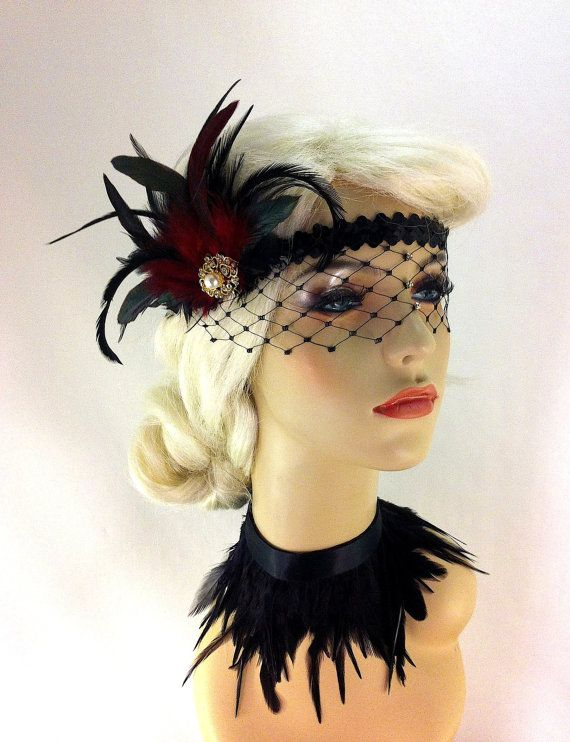 Flapper Headband,1920s Headpiece, Art Deco Headband, Rhinestone Mask/Veil, Burgundy and Black Sequins, Great Gatsby, Made to Order via Etsy