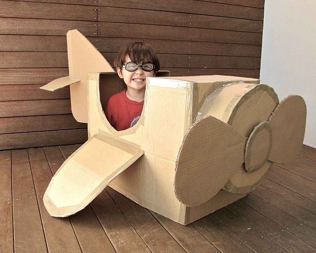 Cardboard box paper airplane for kids