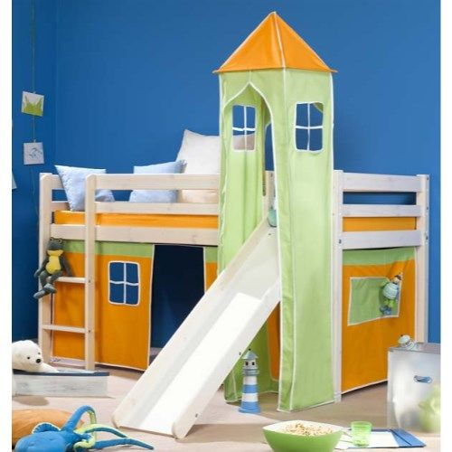 Stompa Minnie Solid Pine White Midsleeper Bed with Orange Tent, Green Tower and Slide - without mattress http://furniture123.co.uk/minnie-solid-pine-white-midsleeper-bed-with-orange-tent-green-tower-and-slide_20790