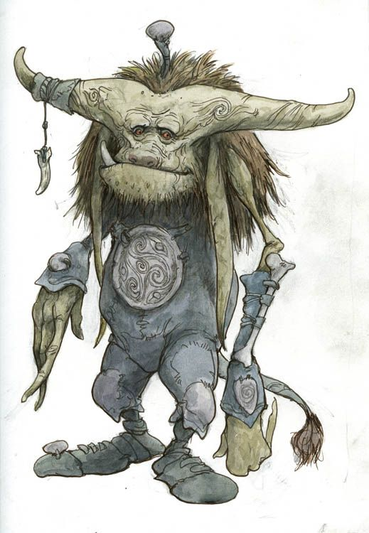 "Romantic Troll, 2011, 11.75"" x 9"" by Brian Froud:"