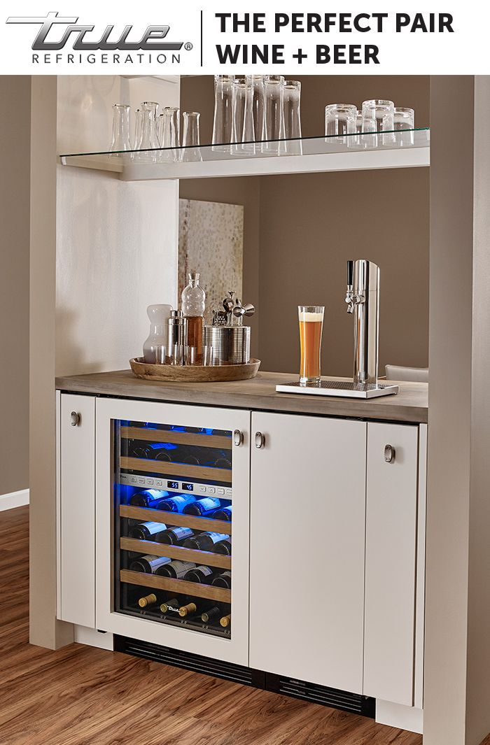 Pair a TRUE Dual Zone Wine Cabinet with a draft beer Kegerator for a home bar suitable for even the smallest of spaces. With 45 bottles of wine storage and room for a one-sixth barrel or tall quarter barrel keg, you're sure to keep your guests happy.