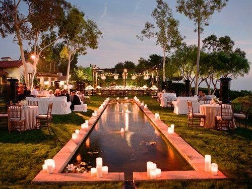Great lighting and seating set-up - Backyard Wedding