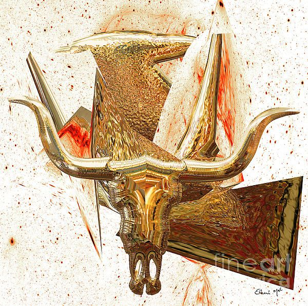 TAURUS is a Modern Contemporary Digital Fine Art Painting. Artist Created by Eleni Mac Synodinos  www.macsnapshot.com