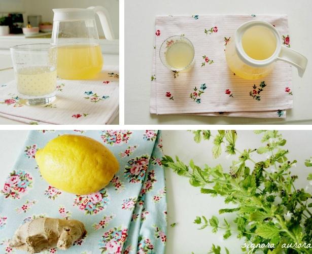 signora aurora: homemade icetea with ginger, lemon, fresh lemon balm and honey