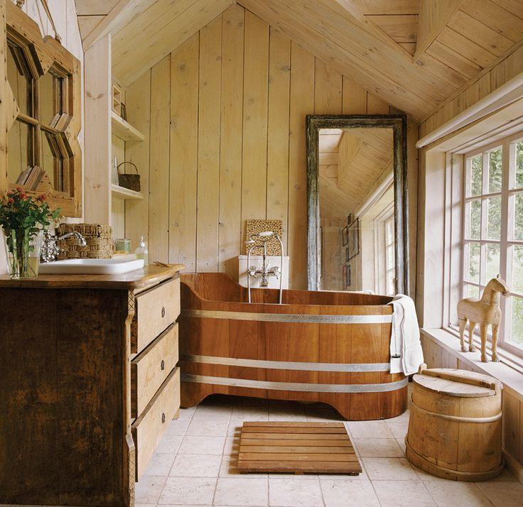 Country bathroom, wooden bathtube