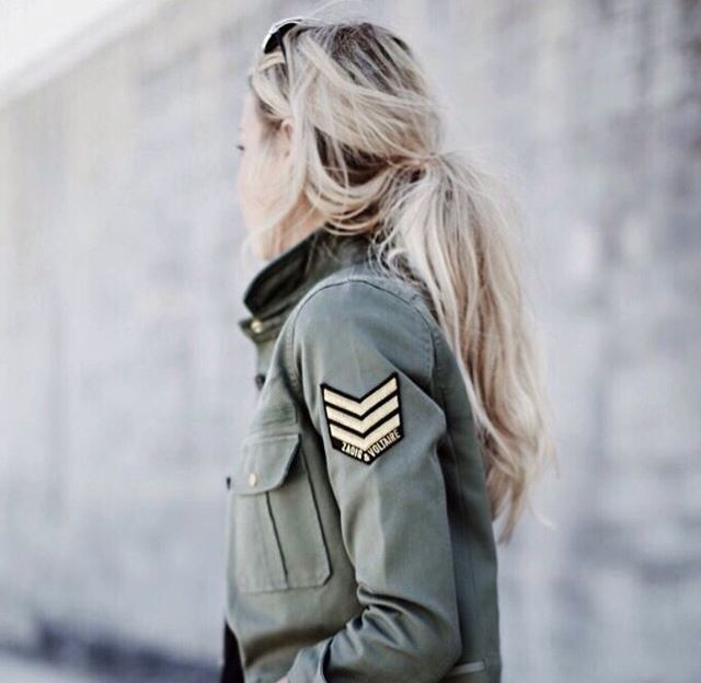 Womenswear | Army jacket | Women's | Hair style | Blonde