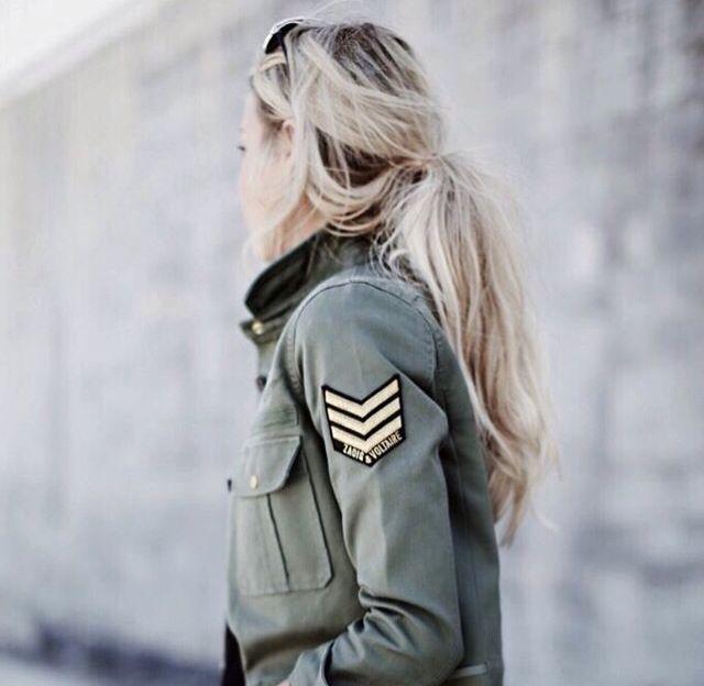 Womenswear | Army jacket | Women's | Hair style | Blonde