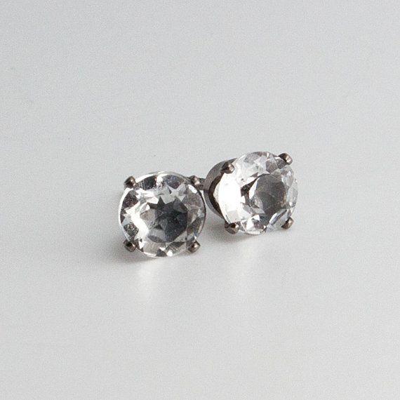 White Topaz Stud Earrings Post