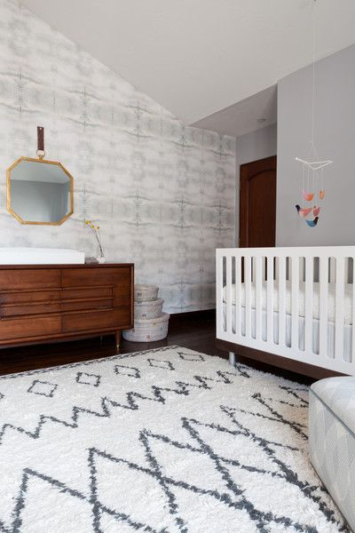 Contemporary Minimalist Wall Treatment: Striped rug and patterned walls in a nursery..