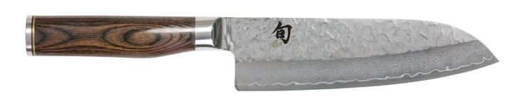 Best Santoku Knives: Shun Premier Santoku Knife, 7-Inch (features a Tsuchime finish that reduces drag when cutting and prevents food from sticking to the blade)