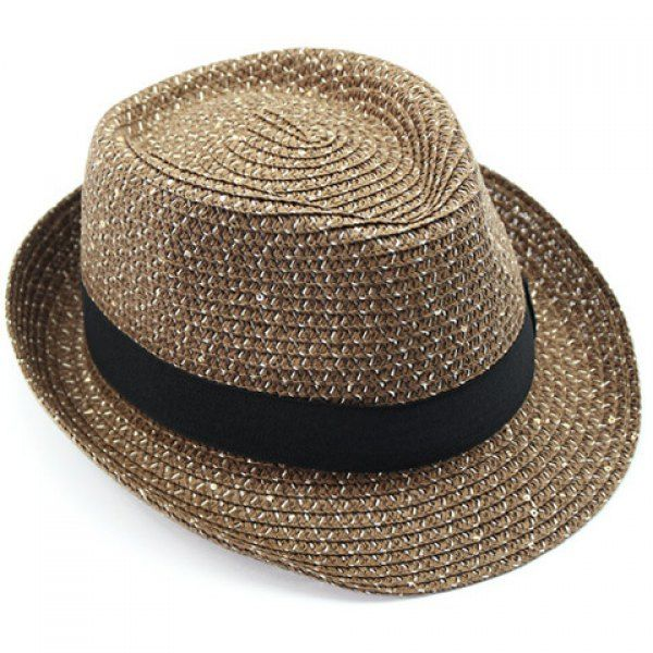 Stylish Black Strappy and Sequins Embellished Flanging Men's Straw Hat #shoes, #jewelry, #women, #men, #hats