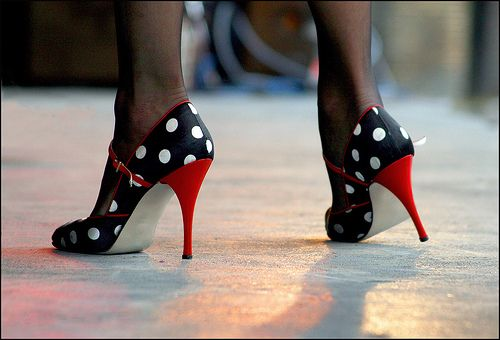 Polka dot tango pumps