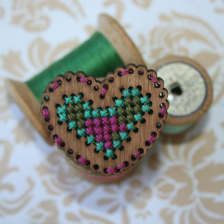 Crafty Gift Wood Heart Brooch - handcrafted | NOOKROAD AUD $12.50