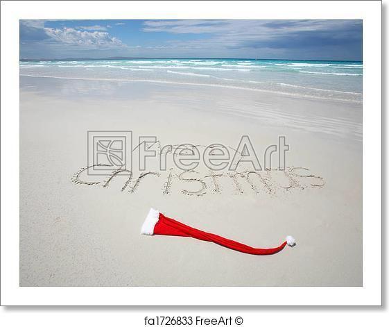 Merry Christmas written on a tropical beach - Artwork  - Art Print from FreeArt.com