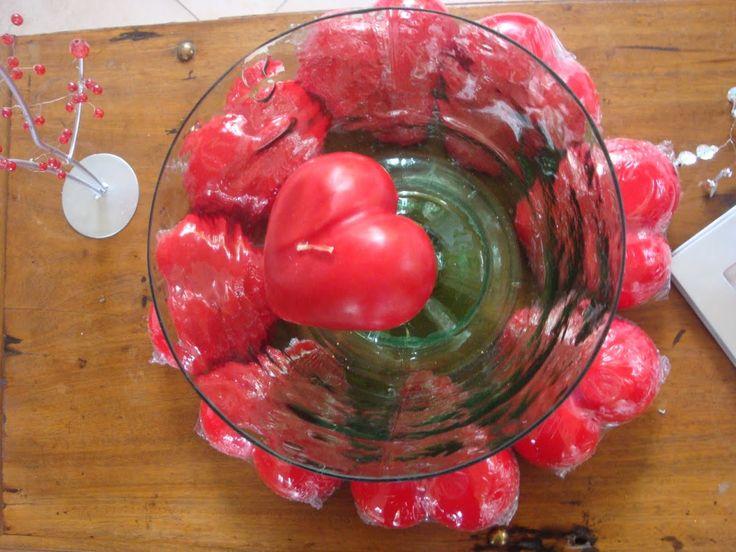 velas flotantes con forma de corazon