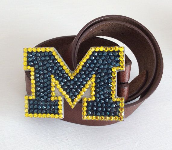 Michigan Wolverines Crystal Team Bling Belt Buckle By