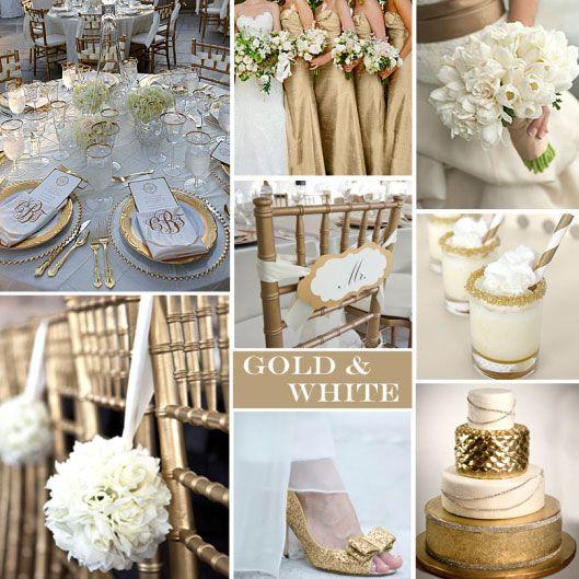 mariage or et blanc