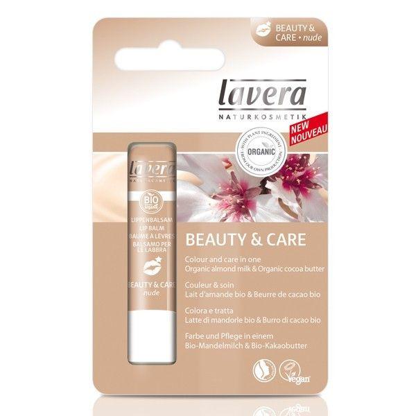 Le Baume à Lèvres Beauty & Care Nude de Lavera hydrate intensément les lèvres tout en apportant une douce couleur nude pour des lèvres nourries et en pleine santé.