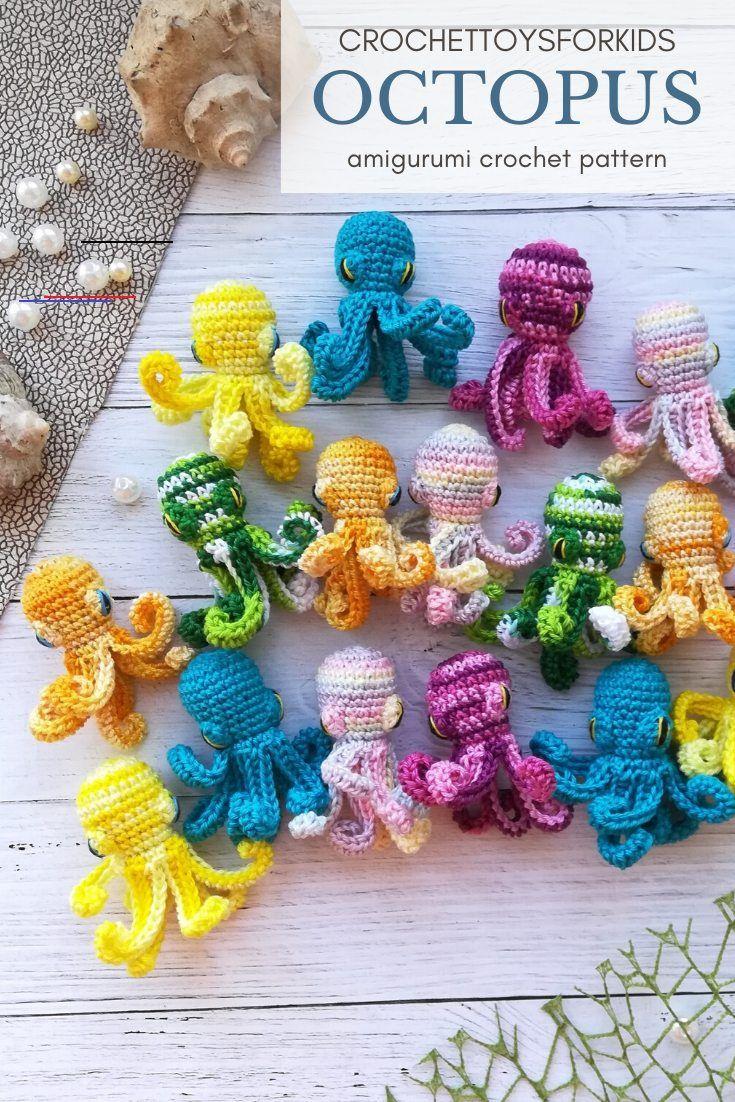 Amigurumi Mini Octopus Crochet Pattern Stuffedtoyspatterns Crochet Pattern Tiny Sea Animals Octopus 3 In 1 Sea Animals Croche In 2020 Hakeln Ideen Stricken Idee
