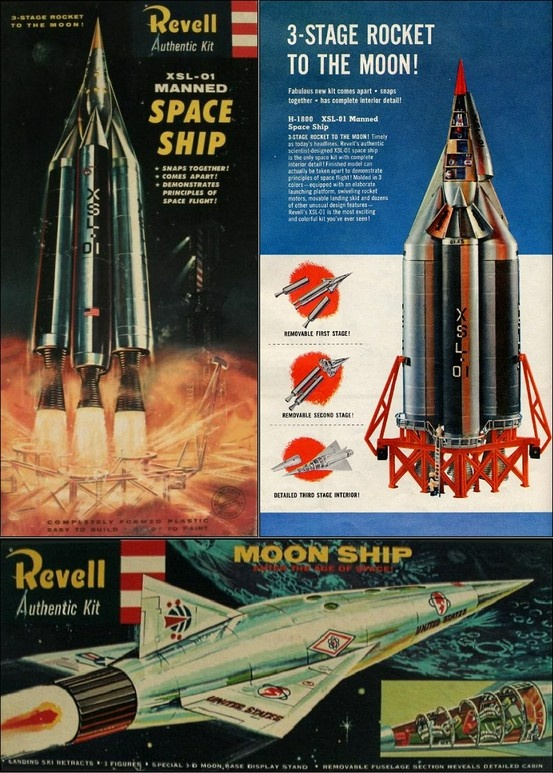 Vintage model kits for the XSL-01 Spaceship and the Moon Ship