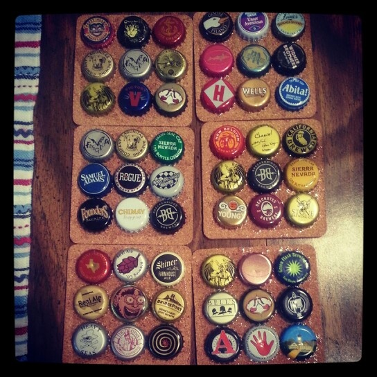 Bottle cap coasters.  Really simple, buy cork coasters from hobby lobby or a similar store.  Drink tons of different craft beers and save the caps.  Spread adhesive (i used gorilla glue epoxy) according to instructions and align the bottle caps.  Allow to set for 24 hours.