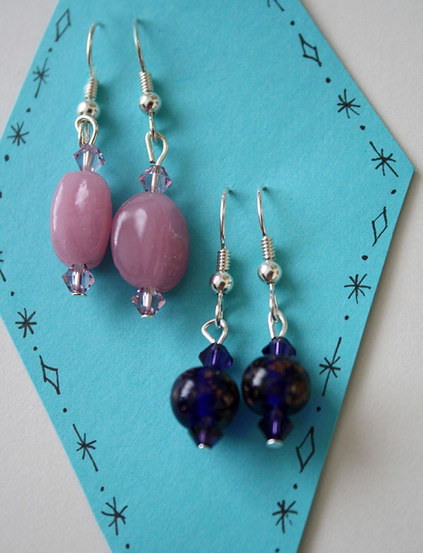 Set of 2 Pink Glass Pendant and Midnight Star Pendant Earrings
