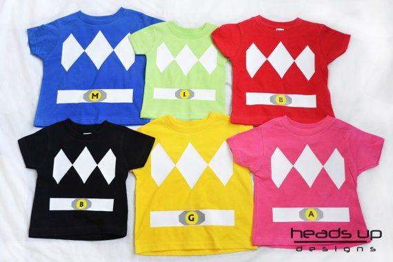 Power Ranger Shirt Toddler - Boy Power Ranger Costume - Girl Superhero tshirt - Baby Onesie - Red Green Yellow Black Blue PInk - Adult -