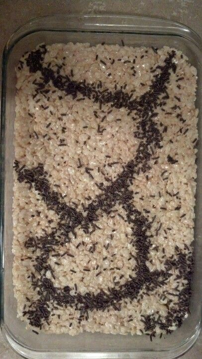 "Ant infected Rice Krispy Treats for the boys ""Bug Theme"" birthday party."