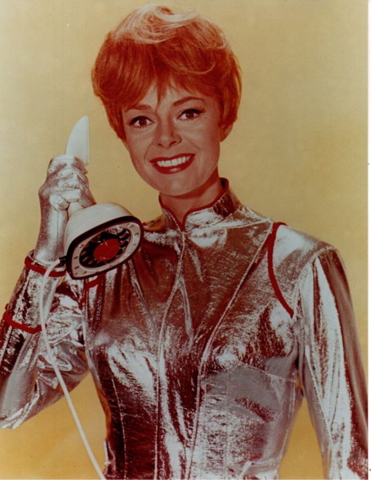 Lost in Space June Lockhart with an ultra tech space phone! (The technology on this show is still mind boggling!)