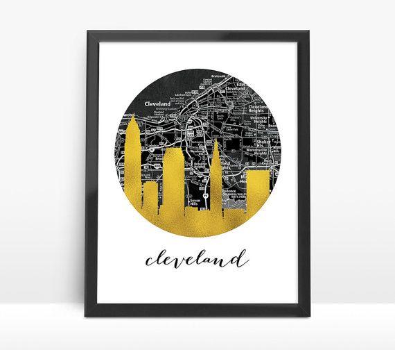 Cleveland City Skyline Faux Gold Foil ArtBlack by 8RedFishCreative