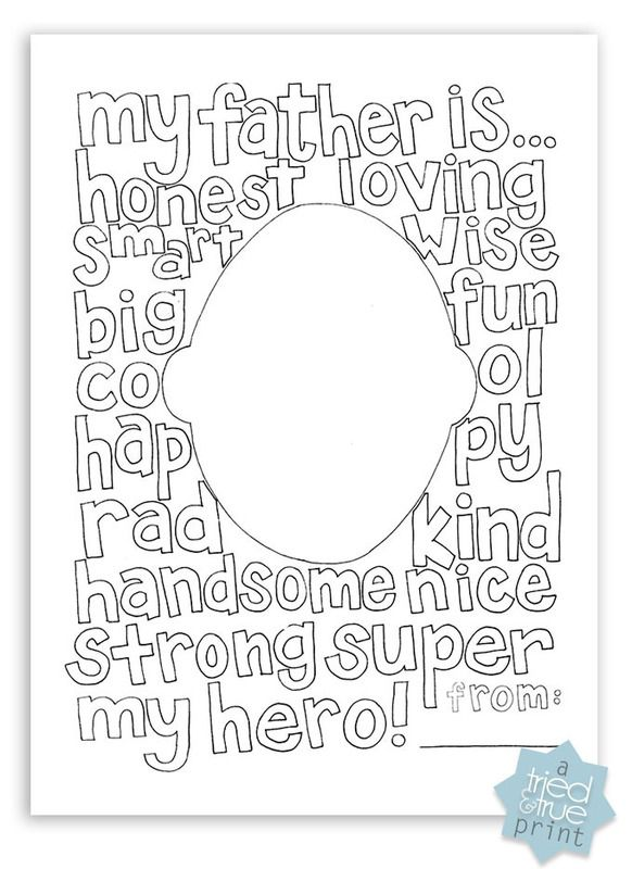 How awesome is this free printable Father's Day coloring page with a portrait of dad! So sweet for Father's Day | Tried and True blog