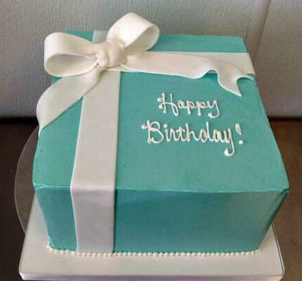 tiffany blue present box birthday cake girl white ribbon bow